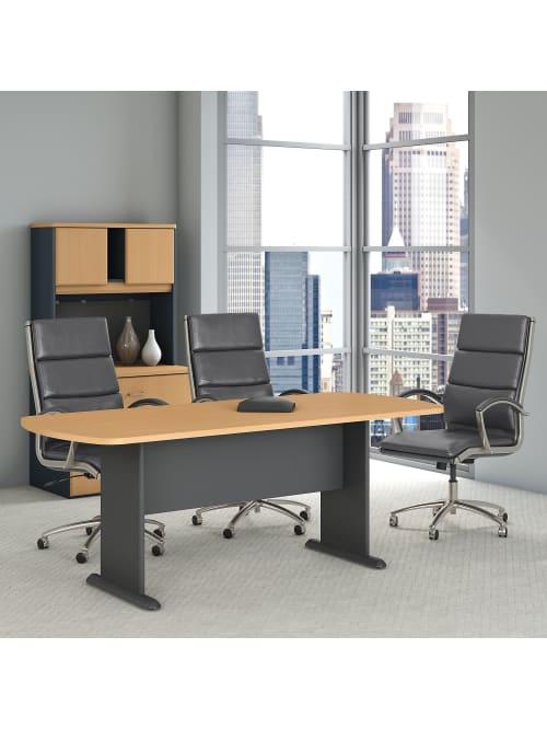 Bush Business Furniture 79 W X 34 D Racetrack Oval Conference Table Beechgraphite Gray Standard Delivery Office Depot