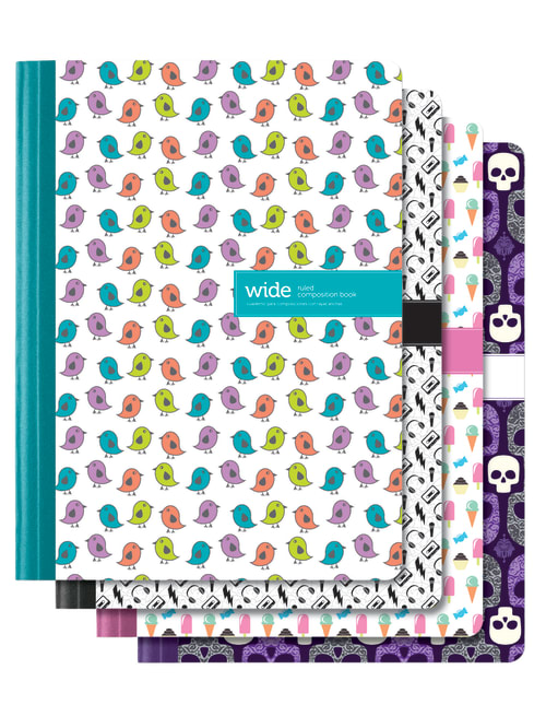 Office Depot Brand Fashion Composition Notebook 7 12 X 9 34 1 Subject Wide Ruled 80 Sheets Assorted Designs No Design Choice Office Depot