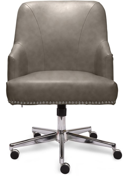 Serta Leighton Home Bonded Leather Mid Back Office Chair Graychrome Office Depot