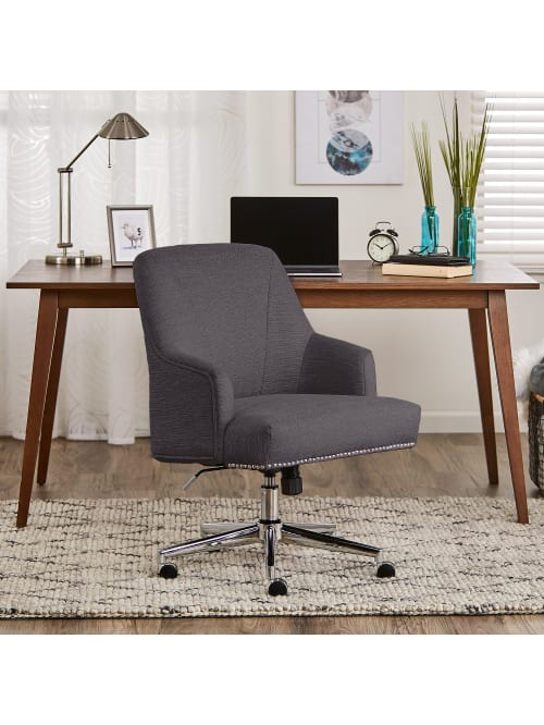 Serta Leighton Home Mid Back Office Chair Twill Fabric Graphitechrome Office Depot