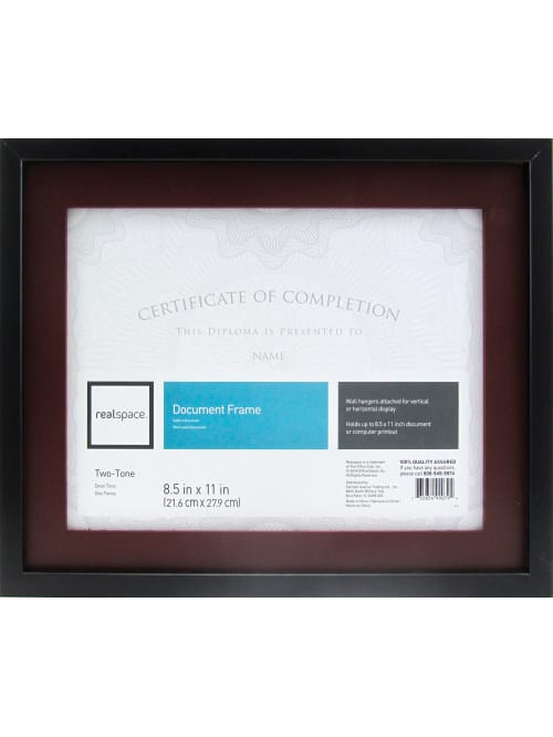 Realspace Photodocument Frame Gallery 11 X 14 Matted For 8 12 X 11 Black Office Depot