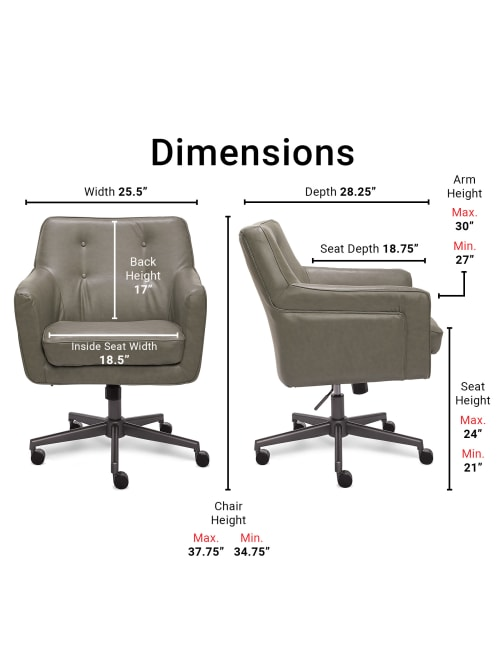 Serta Ashland Home Bonded Leather Mid Back Office Chair Graychrome Office Depot
