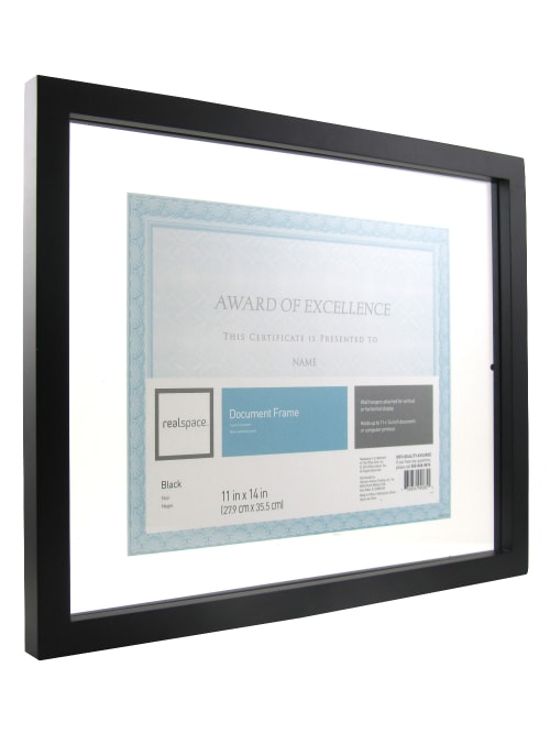 Realspace Gallery Floating Document Frame 11 X 14 Black Office Depot