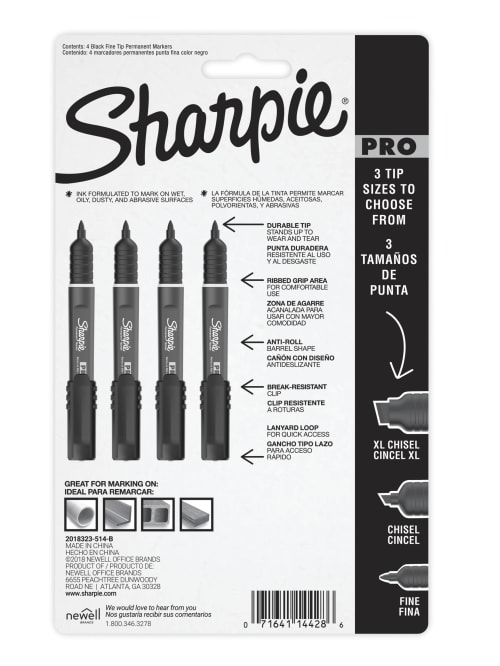 Fine Point Assorted Colors 4-Count Marker 2018324 2 Pack Sharpie Pro Permanent Marker
