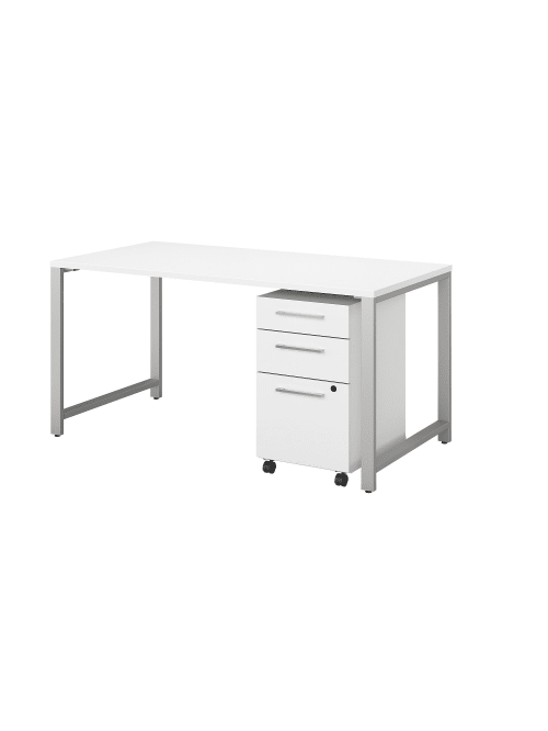 Bush Business Furniture 400 Series Table Desk With 3 Drawer Mobile File Cabinet 60 W X 30 D White Standard Delivery Office Depot