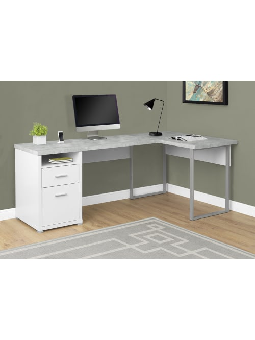 Monarch Specialties L Shaped Computer Desk With 2 Drawers Gray Cementwhite Office Depot