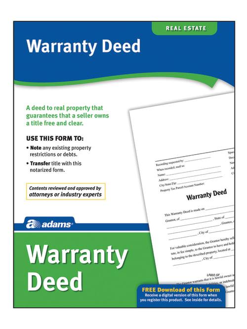 Adams Warranty Deed legal form plus download real estate New