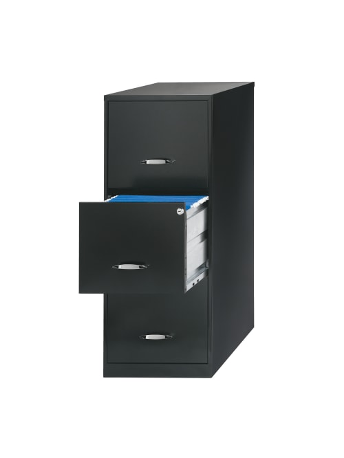 Realspace 18 D 3 Drawer Cabinet Black Office Depot