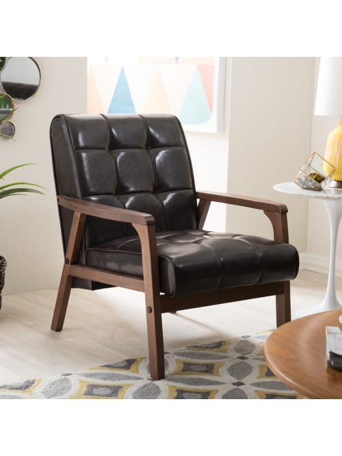Baxton Studio Levin Club Chair Brown Office Depot