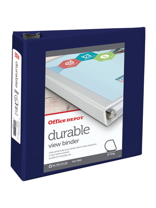 1 1//2 Rings Office Depot Brand Durable D-Ring View Binder Green 60/% Recycled