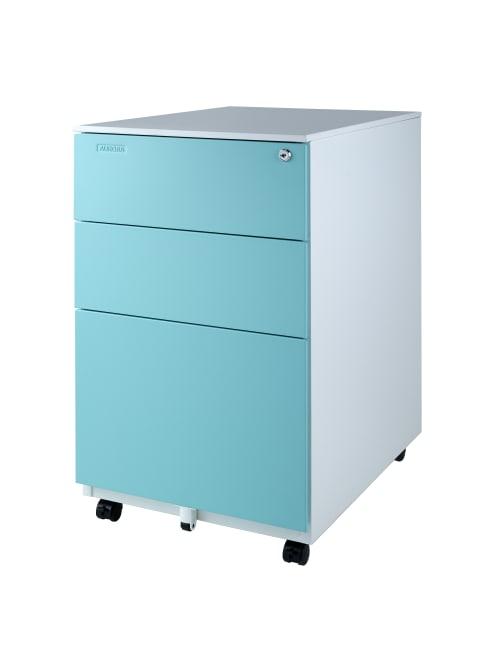 Aurora 24 D Vertical 3 Drawer Mobile File Cabinet Metal Whiteaqua Blue Office Depot