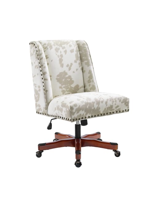Linon Home Decor Products Cooper Mid Back Home Office Chair Cow Printwalnut Office Depot