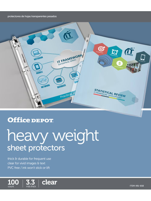 Office OFFICE DEPOT STANDARD NON GLARE CLEAR SHEET PROTECTORS BOX ...