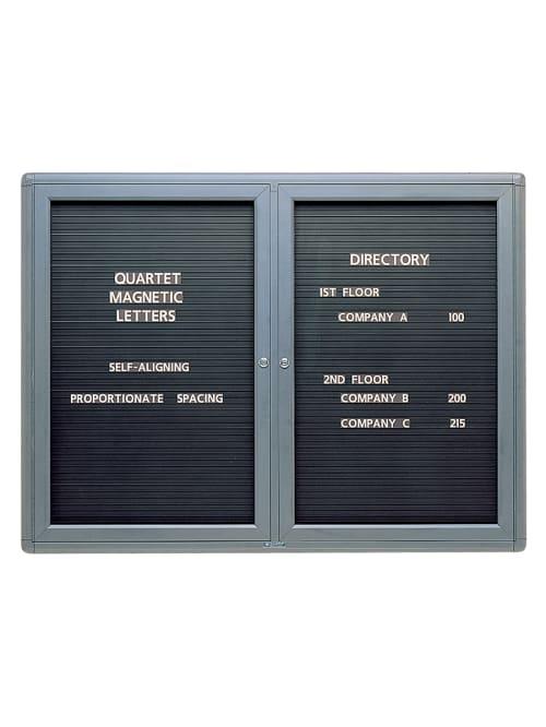 Quartet Enclosed Magnetic Letter Board 48 X 36 Metal Frame With Black Finish Office Depot