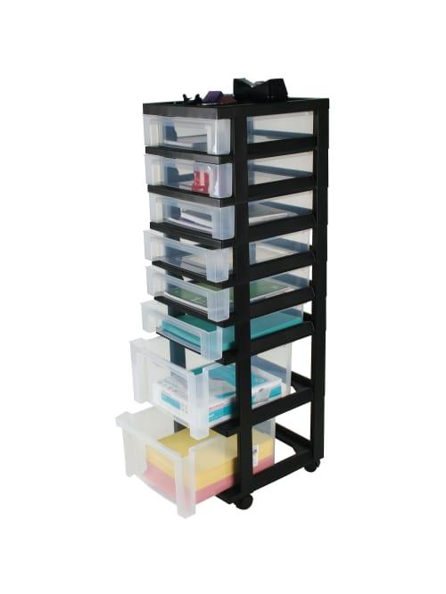 Plastic Storage Tower Cart 8 Drawers