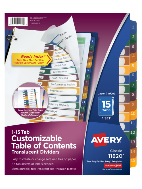 Avery Ready Index Table of Contents Dividers 15 tab customizable