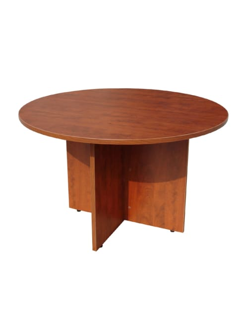 Boss 47 W Round Conference Table Cherry Office Depot