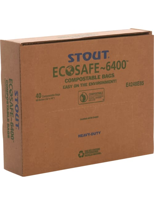 8-Gallon EcoSafe-6400 HB2125-6 Compostable Bag Certified Compostable Pack of 480 Green