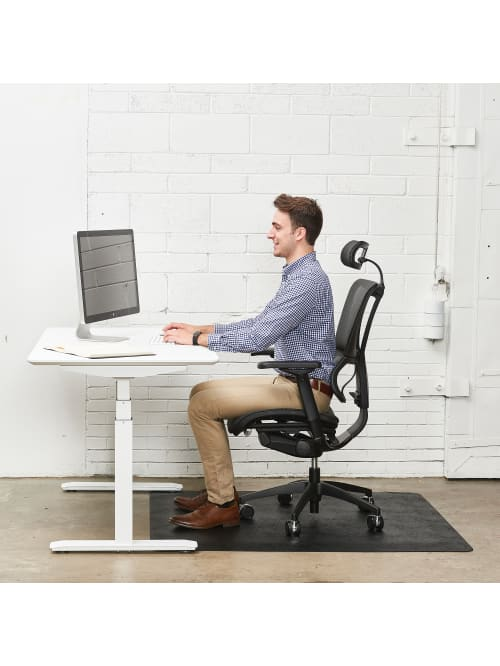 Deflect O Ergonomic Sit Stand Chair Mat For All Pile And Hard Floors 36 W X 48 D Black Office Depot