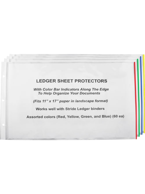 Stride Easy Fit Color Bar Sheet Protectors 11 X 17 Assorted Colors Pack Of 60 Office Depot