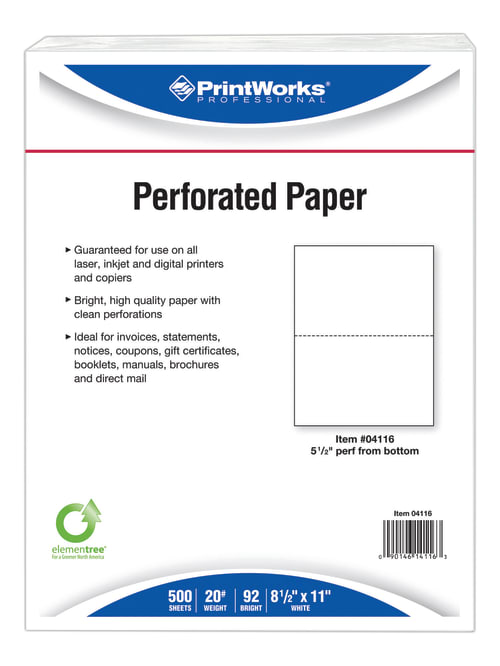 Printworks Professional Pre Perforated Paper For Statements Tax Forms Bulletins Planners And More Letter Size 8 12 X 11 20 Lb Ream Of 500 Sheets Office Depot