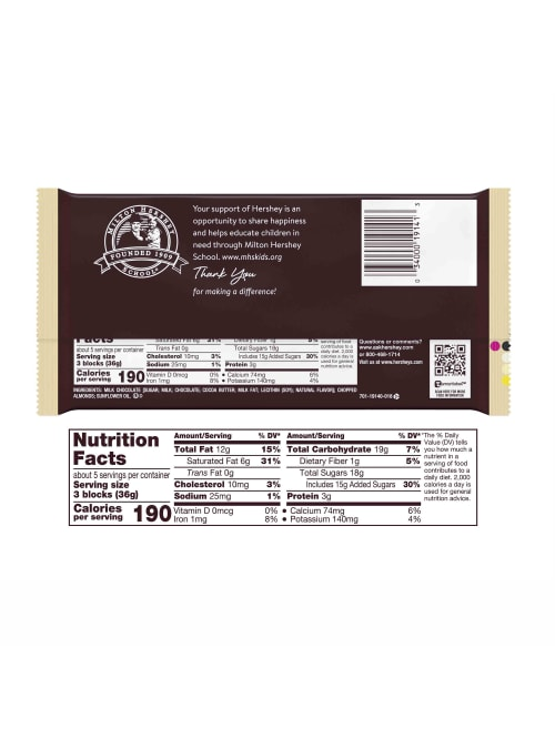 Hersheys Milk Chocolate Candy Bar With
