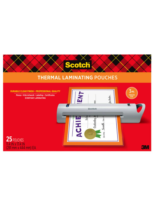 Scotch Thermal Laminating Pouches 11 12 X 17 12 Clear Pack Of 25 Sheets Tp3856 25 Office Depot