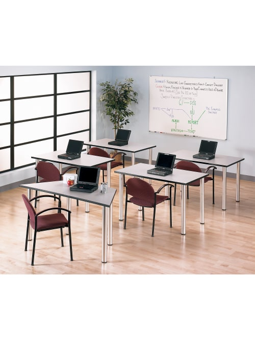 Bush Business Furniture Aspen Trapezoid Table 57 W X 25 D White Spectrum Standard Delivery Office Depot