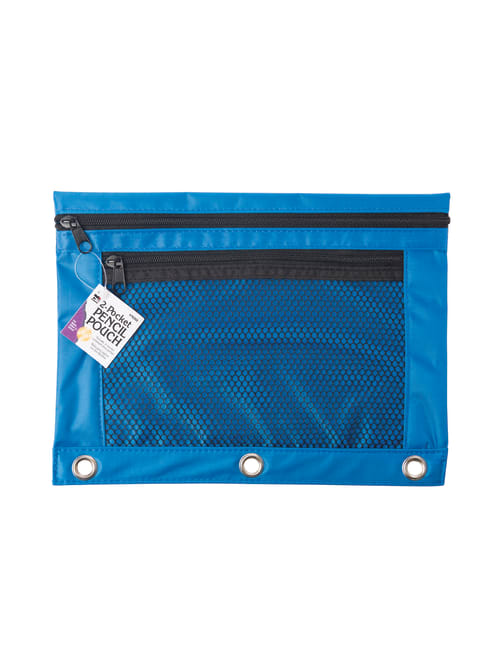 3 Pack Black Binder Pencil Pouches 3 Rings Black with Zipper Double Pocket and a Sticky Note