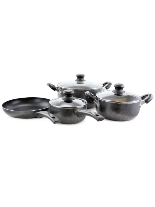 Better Chef 7 Piece Alum Ns Cookware Set Blk Office Depot