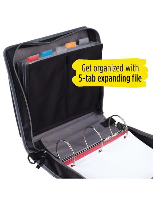 29036IT8 3 Ring Binder Black//Gray Removable File Folders Five Star 2 Inch Zipper Binder Durable
