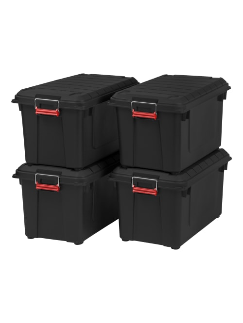 Iris Weathertight Storage 82 Qt Black 4pk Office Depot