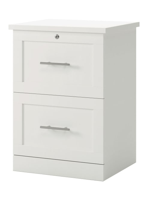 Realspace 2 Drawer 17 D File White, White Wood File Cabinet