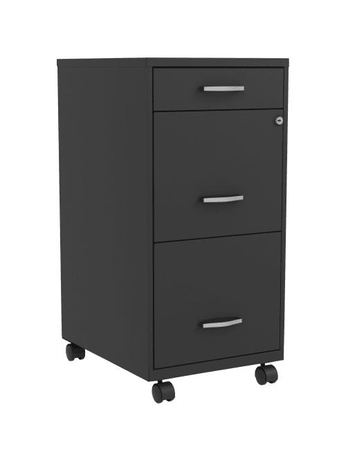Lorell Soho 18 3 Drawer Steel Mobile File Cabinet Black Office Depot
