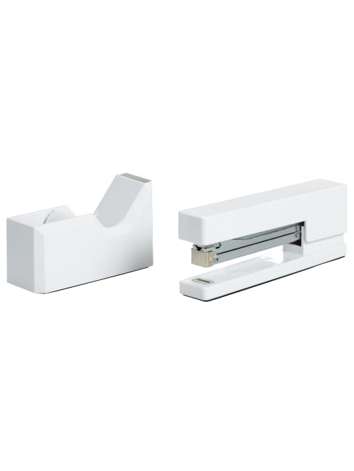 Gold, 2 Pieces Tape Dispenser and Stapler Set