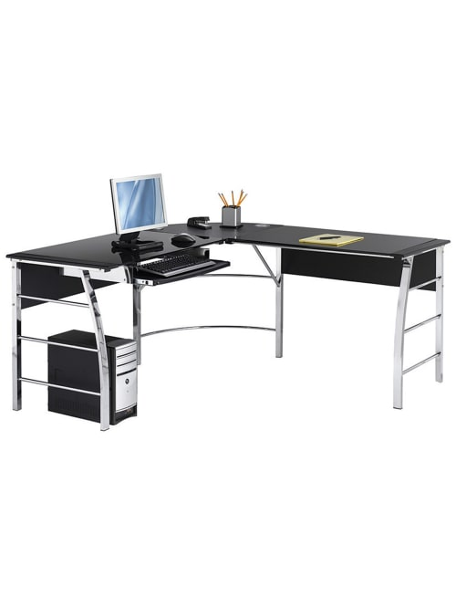Realspace Mezza L Shaped Desk Blackchrome Office Depot