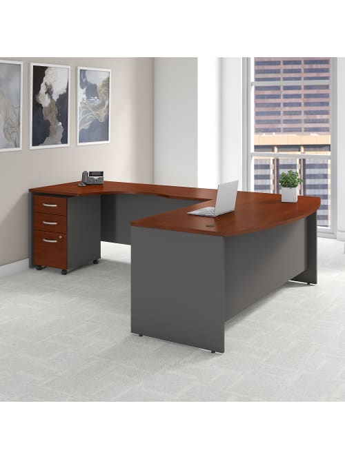 Bush Business Furniture Components 72w Bow Front L Shaped Desk With 72w Left Handed Return And 3 Drawer Mobile File Cabinet Hansen Cherry Standard Delivery Office Depot