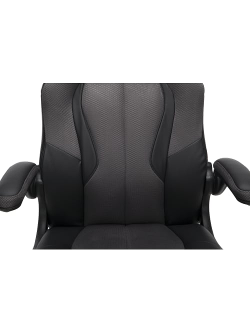 Ofm Essentials Racing Style Bonded Leather Gaming Chair Grayblack Office Depot