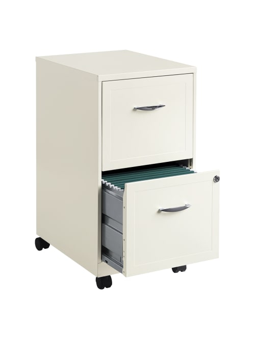 Reale 2 Drawer Mobile Cabinet Pearl
