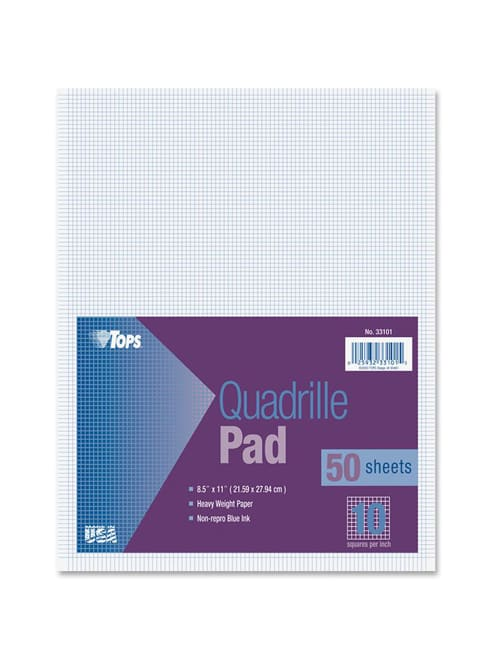 100 Sheets 8.5 Inch x 11 Inch Pacific Arc Quadrille Paper Pad 10 x 10 Grid