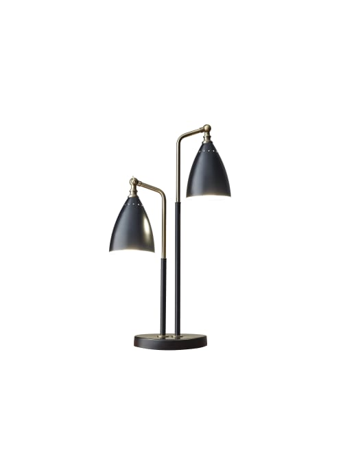 Adesso Chelsea 2 Light Table Lamp 32 12 H Black Shadeblack Base Office Depot