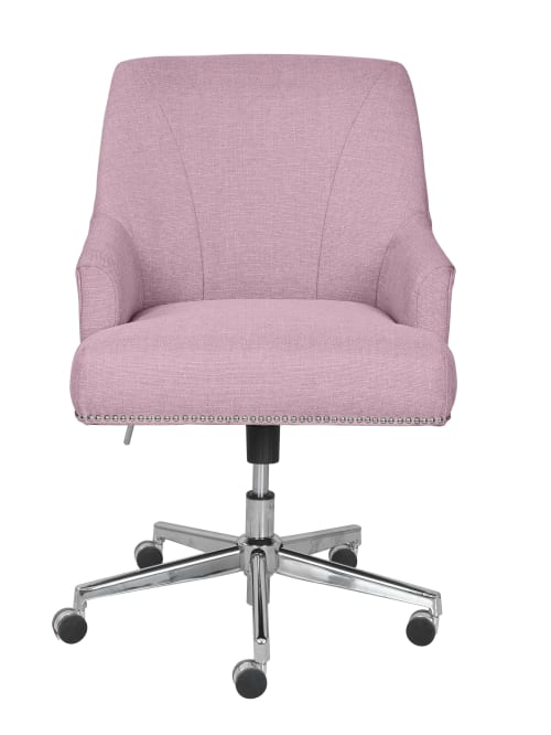 Serta Leighton Home Mid Back Office Chair Twill Fabric Lilacchrome Office Depot