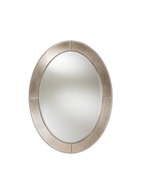 Baxton Studio Beaded Oval Mirror 48x36, Oval Silver Beaded Mirror