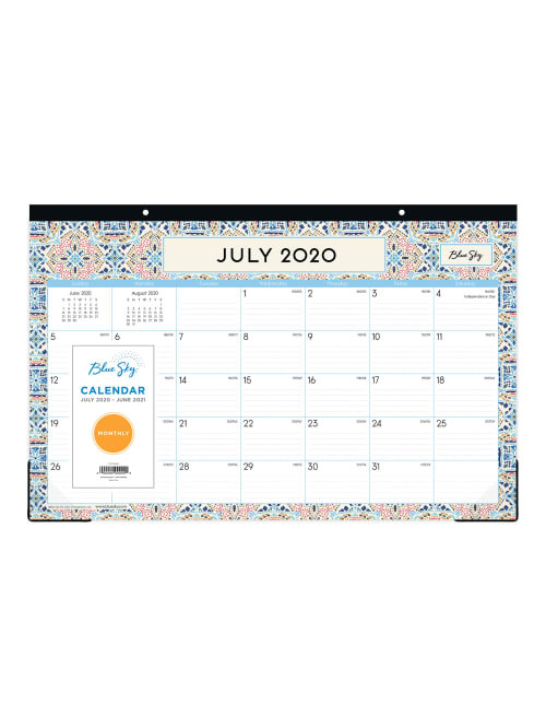 June 2021 Desktop Calendar Blue Sky Morocco Monthly Desk Pad 119246   Office Depot