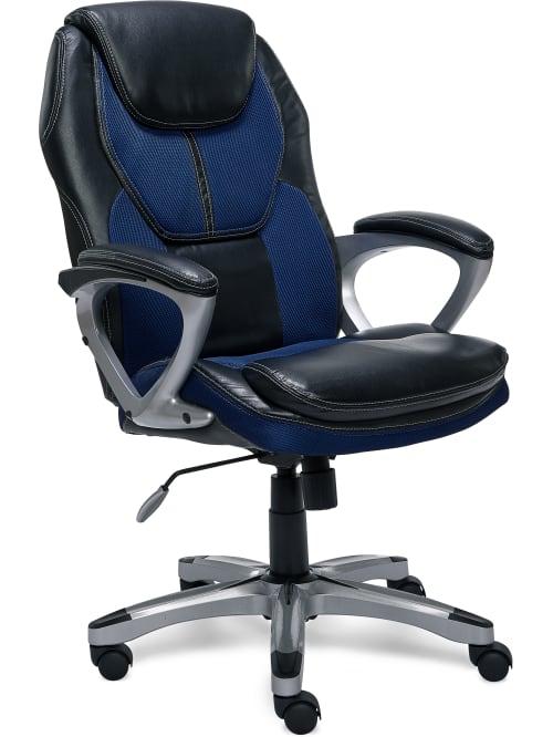 Serta Works Bonded Leathermesh High Back Office Chair Streamline Bluesilver Office Depot