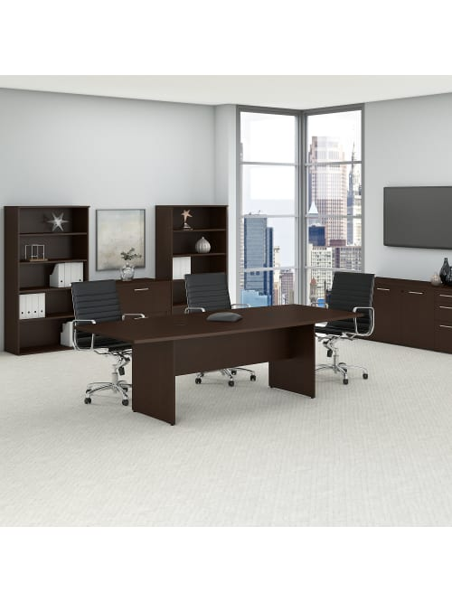 Bush Business Furniture 96 W X 42 D Boat Shaped Conference Table With Wood Base Mocha Cherry Standard Delivery Office Depot