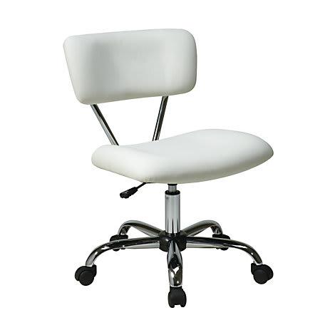 497966 Office Star™ Avenue Six® Vista Task Chair, Vinyl, White/Silver