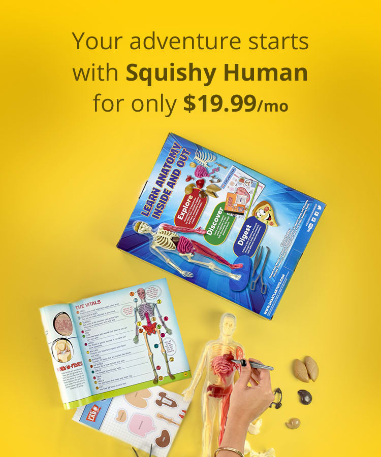 Your adventure starts with Squishy Human for only $19.99/mo