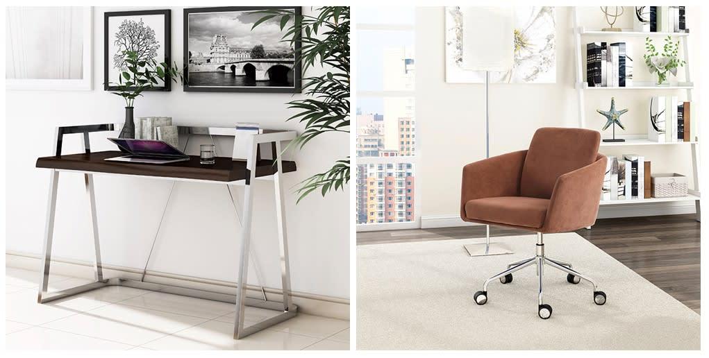 Elle Decor Alliel Live Edge Desk & Cognac Chair