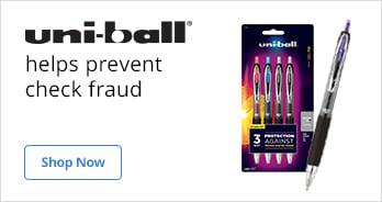 Uni-ball Pens help prevent check fraud